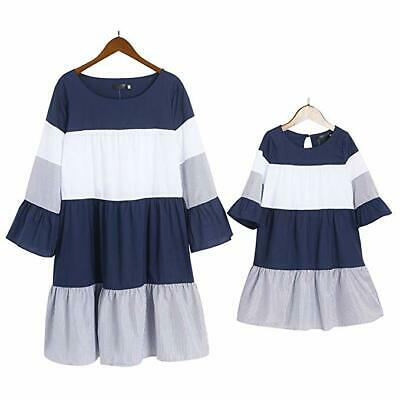 New Summer Family Maching Clothes Women Girls Mother And Daughter Striped Dress