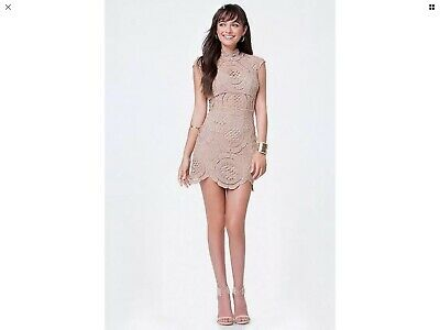 NWT bebe brown mock neck open back lace crochet top dress S small M medium 6