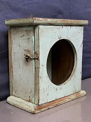 Vintage Indian Art Deco Clock Box. Duck Egg Blue. Small Display Cabinet.