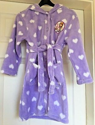 Girls BHS Disney Sofia The First Lillac Dressign Gown White Hearts 5-6 Years B63