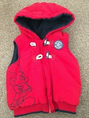 Disney George Red Body Warmer Gilet Baby Boys Mickey Mouse Hooded 9-12 Months B6