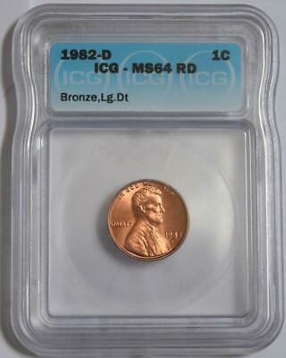 1982 D Lincoin Penny Icg Ms64 Rd Bronze Large Date American Coins Small Cent X