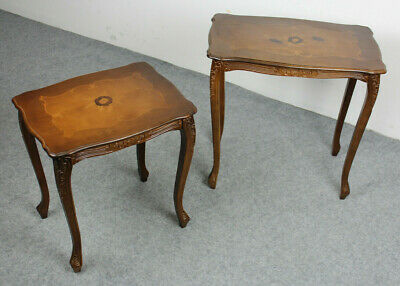 Set Antiker Beistelltische Jugendstil Intarsien Vollholz * Vintage Side Table