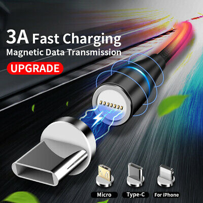 Magnetic Lightning Micro USB TypeC Fast Charger Braided Cable For iPhone Samsung