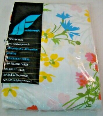 Fieldcrest Perfection Pillowcases Two Standard Floral Bright Yellow Pink Blue