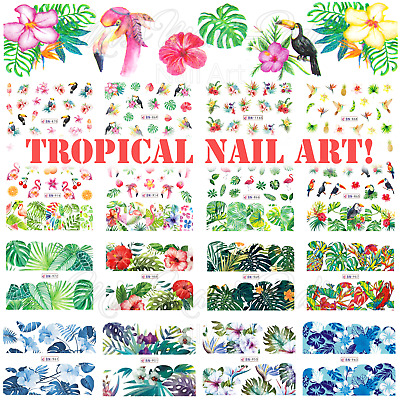 Tropical Nail Art Water Decals, Nail Stickers, Nail Decals Beach Summer Flamingo