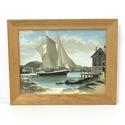 Vintage Paint By Number Coastal Waters Boat Safe Harbor Rugged Coast PBN Ship