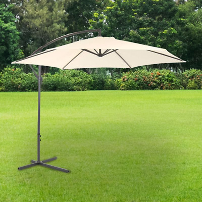Grey Parasol Sun Shade Patio Hanging Set Umbrella Cantilever 3M Garden Banana