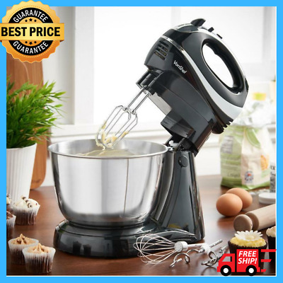 Electric Hand & Stand Food Mixer W Mixing Bowl Powerful Processor Kitchen Baking