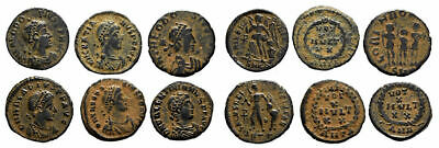 FORVM Lot of 6 mostly Choice VF Late Roman AE4 Bronze Coins 364 - 395 AD NICE!