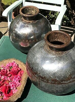 Antique Vintage Indian Metal Riveted  Water Pot Bowl. Heavy Polished Lota.