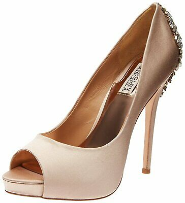 BADGLEY MISCHKA Womens Kiara Peep Toe Classic Pumps, Latte, Size 7.0 OaOi