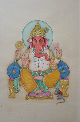 An old or antique look miniature paper painting of GANESHA