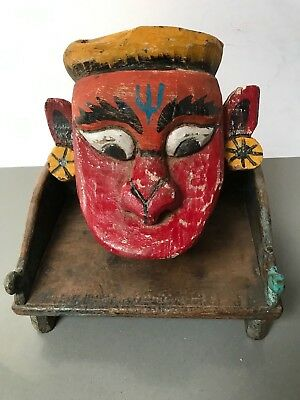 Antique Vintage Indian Mela Mask.  Re-Enactments  0F Epic Poems.