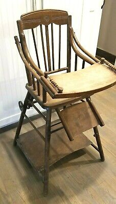 Antique Wood Convertible Child's High Chair