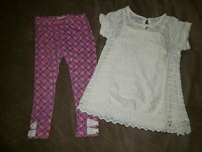 Girls 4/5 Self Esteem 2-pc Set Knit Lace Tunic Top w/Pink Purple Heart Leggings