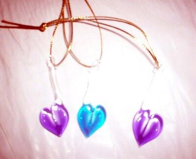 3 Hand Blown Glass  Heart Ornament/Sun Catcher