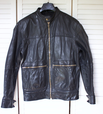 Mens All Saints Style 100% Leather Jacket Size 36 Small
