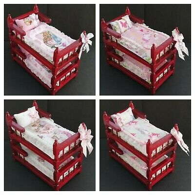 Handmade Miniature 1/12th scale dolls bedding for BUNK BED Girls room - various