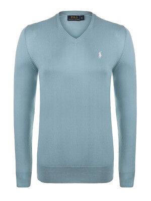 cce8b9e54 PULL RALPH LAUREN léger col en V pale turquoise / blanc homme - taille M