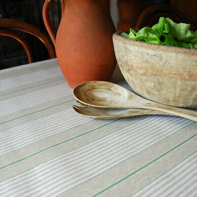 French wipeable oilcloth vintage green kitchen stripe linen table cloth
