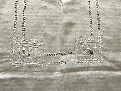 hand Embroidered Lefkara Linen tablecloth Dawn Thread Work With MatchingNapkins