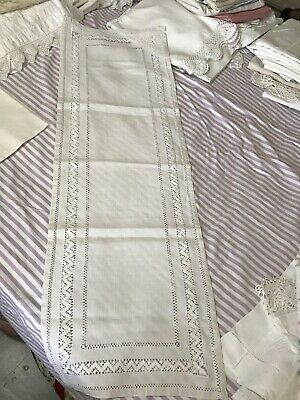 Antique French Linen Table Runner Mantel Cloth Drawn Thread Work