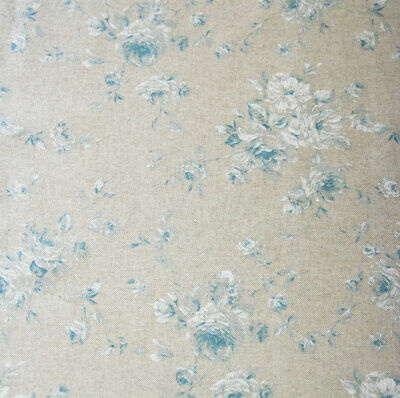 French vintage blue tea rose print wipe clean chintz linen oilcloth