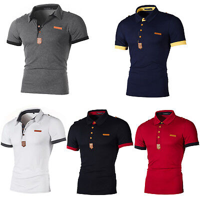 huge selection of fdb6e 1c9e0 HERREN SOMMER KURZARM Polo Shirt Hemd Slim Fit Poloshirt Polohemd  Freizeithemd