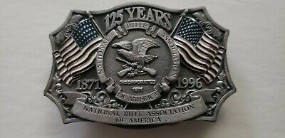 Vintage 1871-1996 Nra Belt Buckle~Pewter/Silver W/ Flags #950597 ~ Made In Usa