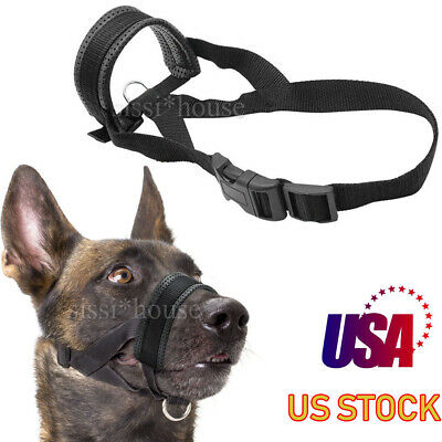 Dog Muzzle Soft Leather Nylon Cage No Barking Biting Chewing Sturdy Anti-Bark