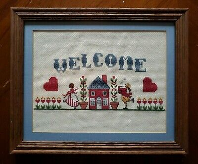 Welcome colonial house - Cross Stitch hearts blue Embroidery FRAMED COMPLETED