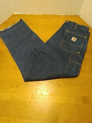 Carhartt Logger Jeans B07 38x32 Suspender Double Knee Cut Off at Shin Length