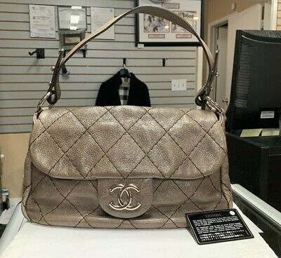 a018669990dc AUTHENTIC CHANEL ON The Road Quilted Taupe Leather Flap Bag ...