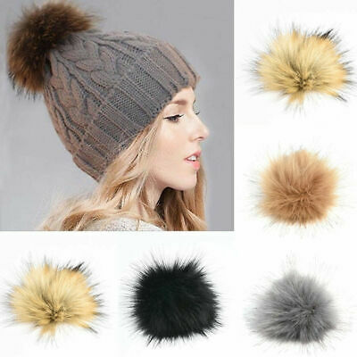 New Women Large Faux Raccoon Fur Pom Pom Ball with Press Button DIY Knitting Hat