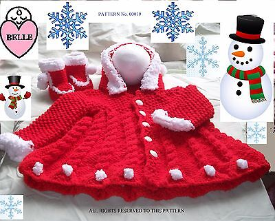 Baby Christmas knitting pattern, chunky yarn. Coat with hood + booties, 6 sizes.