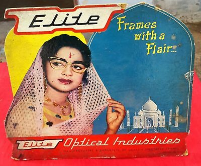 VINTAGE 1960s RARE ELITE OPTICAL INDUSTRIES-FRAMES WITH FLAIR PAPER SIGN BOARD