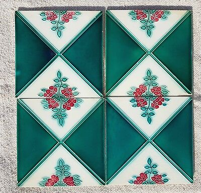 1940s Vintage Floral Design 4Pcs. Majolica Art Nouveau Architecture Tile Japan