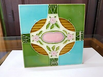 1940s Vintage Old Floral Majolica Art Nouveau Architecture Unused Tile Japan