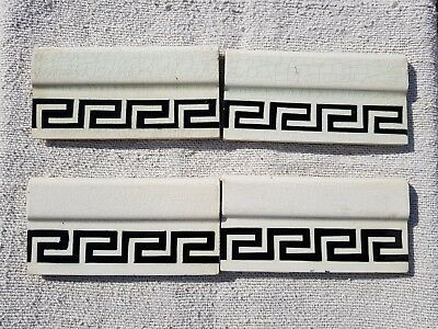 1940s Vintage Black & White 4 Pcs. Majolica Art Nouveau Architecture Tile Japan