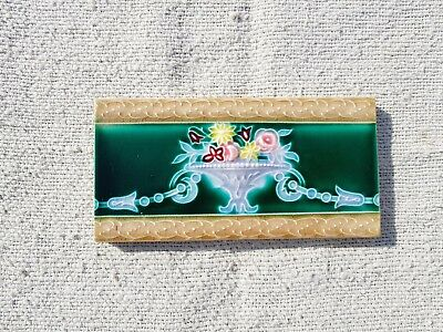 1940s Vintage Old Floral Majolica Art Nouveau Architecture Saji TM Tile Japan