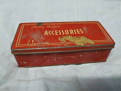 1950s Vintage Sewing Machine Accessories Red & Yellow Color Tin Box