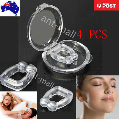 4X Anti Snore Magnetic Silicone Nose Clip Stop Snoring Apnea Aid Device Stoppers