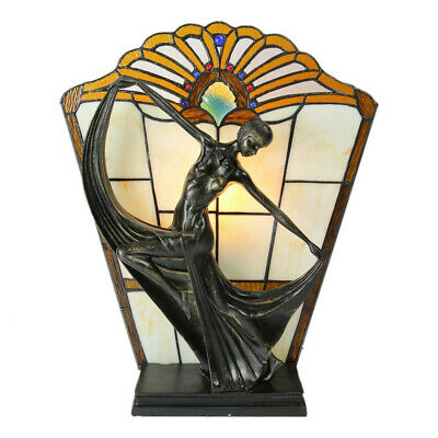 NEW Amber Art Deco Dancer Tiffany Stained Glass Accent Lamp