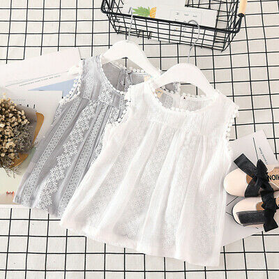Toddler Baby Kids Girls Solid Lace Sleeveless Patchwork Tops Vest Casual Clothes