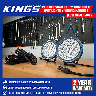 "Pair of 7"" OSRAM LED Domin8rX Driving Lights With Plug n Play Wiring Harness"