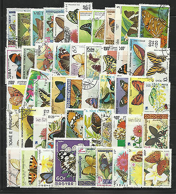 BUTTERFLIES Collection Packet of 100 Different WORLD Stamps