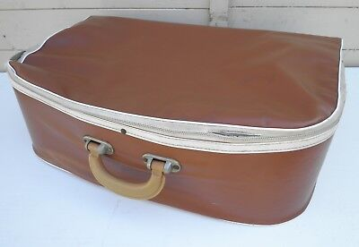 Vintage Circa 1960s Brown Light Weight Strong Thin PVC Suitcase 56lx34hx17w cm
