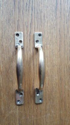 "Pair Heavy Victorian 5.5"" Cast Brass Door Push Pull Handles Reclaimed Salvaged"