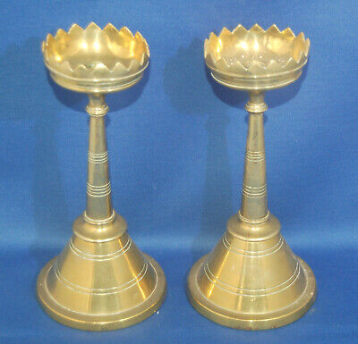 An unusual pair of Victorian brass church gothic cone taper candlesticks, 6.9 ""